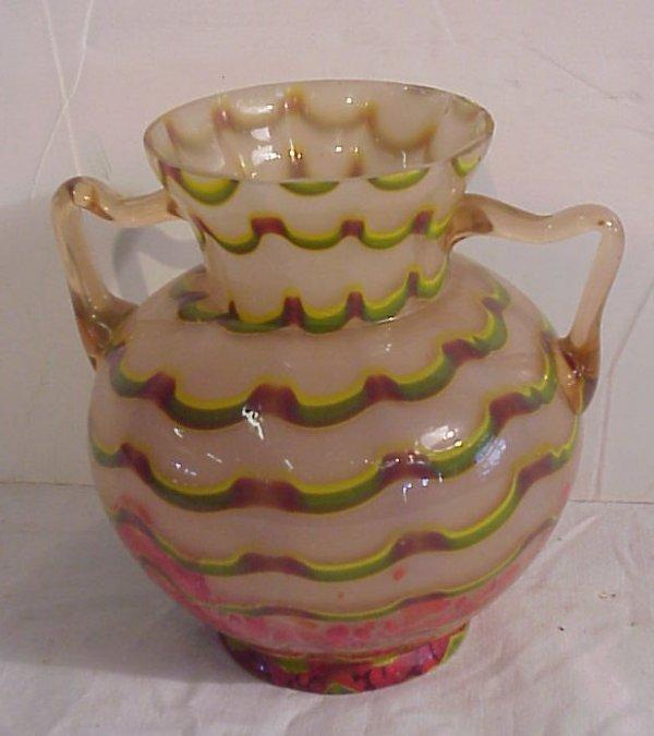 """22: Loetz King Tut pattern art glass vase, 7""""h x 6  1/2"""