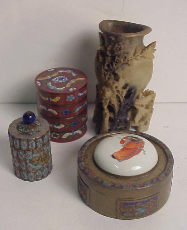 24: 4 piece Oriental lot - enameled brass box with  por