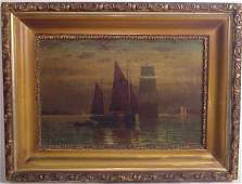 37: Signed Moran Night Seascape with sailboats, oil on