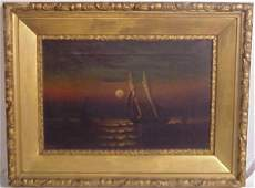 78: Moran Moonlit seascape with sailboat, oil on canva