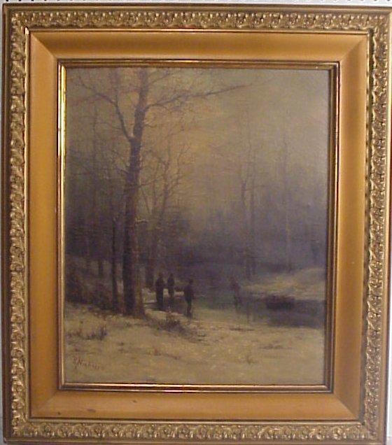 169: R. Nicholes 19thc Winter scene with children  gath