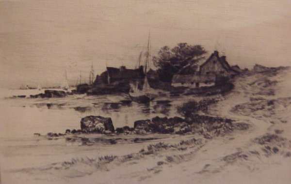 3: W. Goodrich Beal (19thc USA) Coastal scene with  cot