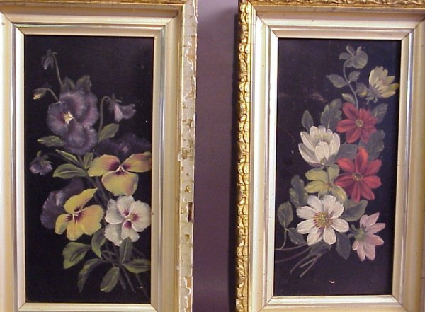10: Pair of floral still life paintings on board, gilt