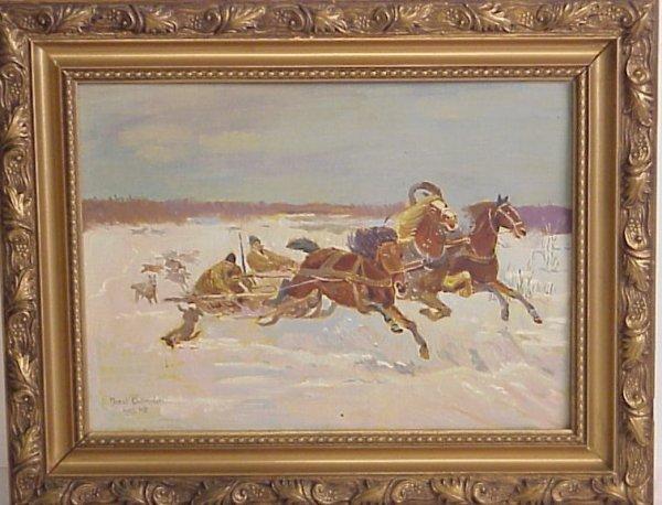 23: Jozef Chelmonski (1849-1914 Polish) Troika scene,