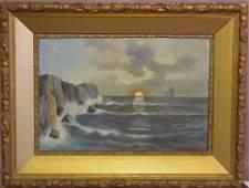 70: Signed Moran, sunset seascape with sailboat, oil o
