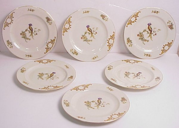 11: Set of 6 Czech transfer and hand painted plates  wi