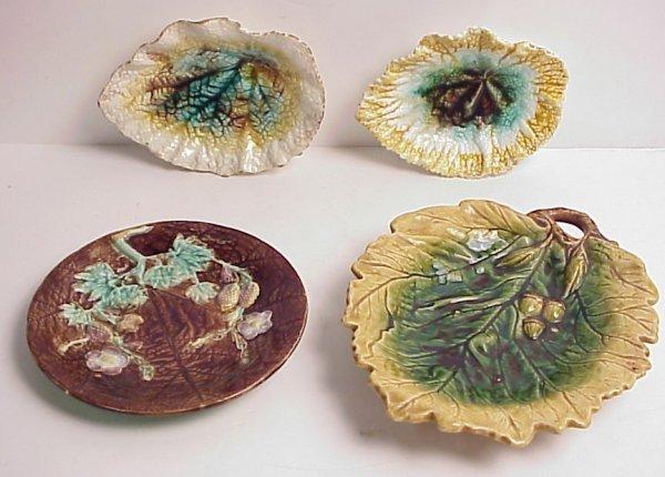 18: 4 Majolica dishes, oak leaf handled dish, cracked,