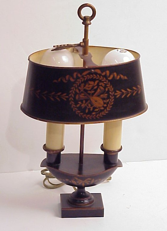 21: French tole desk lamp, black and gold, marked Made