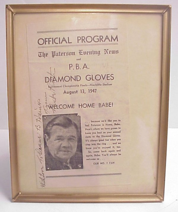 26: Babe Ruth autograph, Official Program The Paterson
