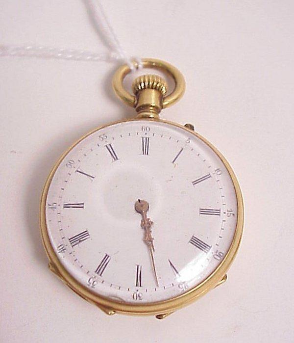 "39: 18k gold Remontoir pocket watch, 15/8"""