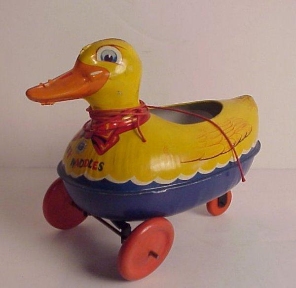 13: Wyandotte USA vintage tin pull toy, Ducky Waddles,