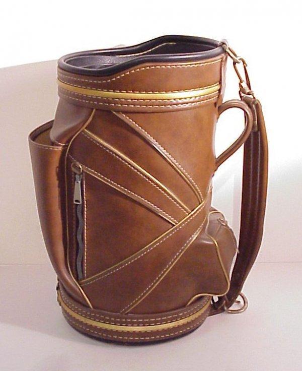 "1: Golf bag motif cowhide wastebasket, 18"" high, made"