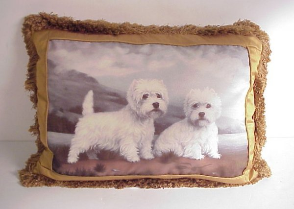 """2: West Highland terriers painted on silk pillow 15""""  x"""