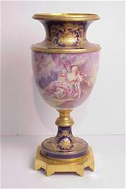 118: 19thc Sevres vase handpainted with lovers in a  ga