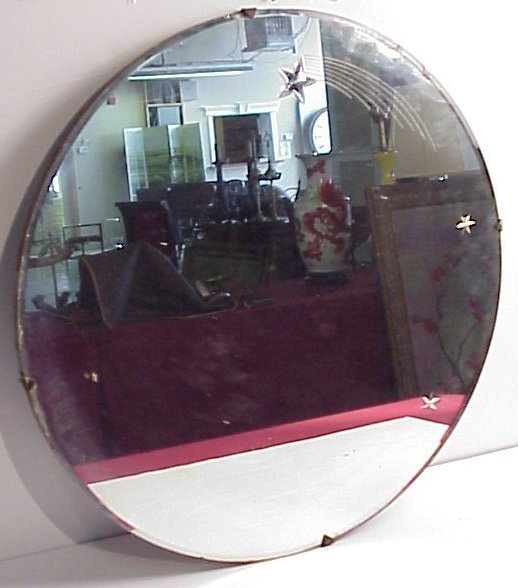 32: Vintage etched glass and beveled edge round wall  m