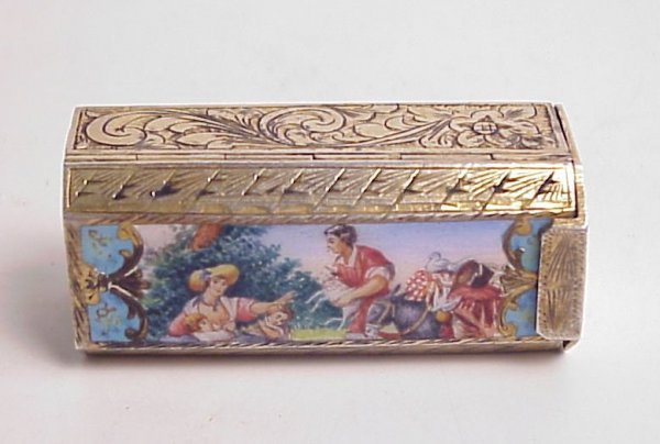 37: Sterling and enamel plaqued lipstick case with  mir
