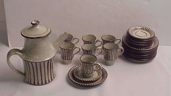 221: Lowe / Denmark pottery dessert set includes coffee
