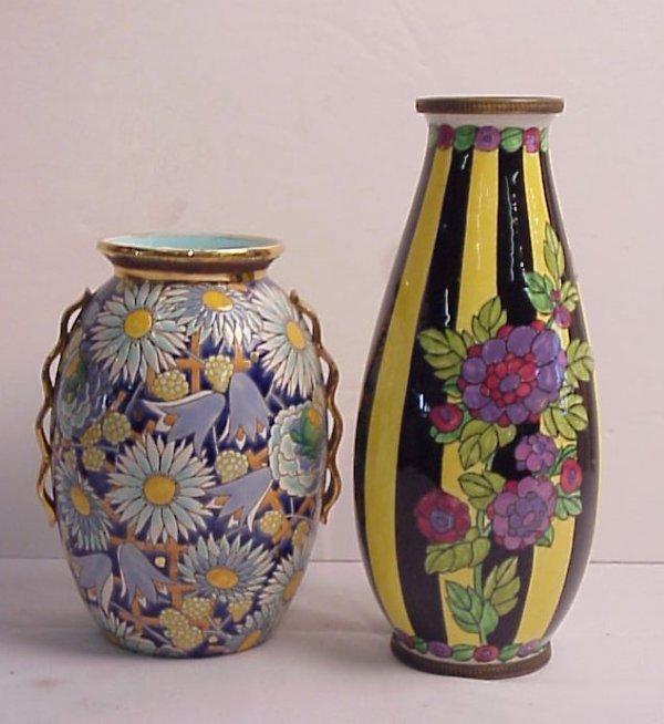 8: 2 Boche Freres, Belgium vases, one with bronze  moun