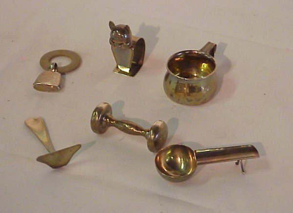 11: Lot of sterling silver baby items including  rattle