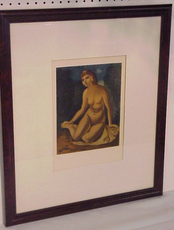 13: Andre Derain seated nude lithograph, signed in the