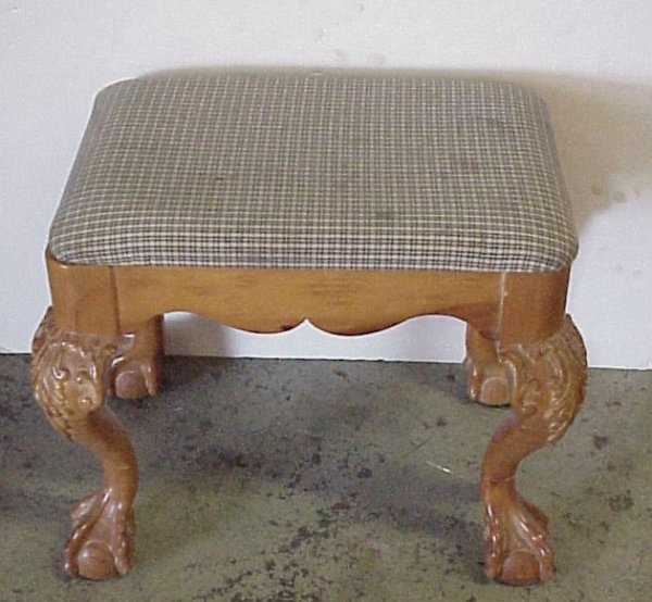 15: Chippendale style ball and claw foot stool