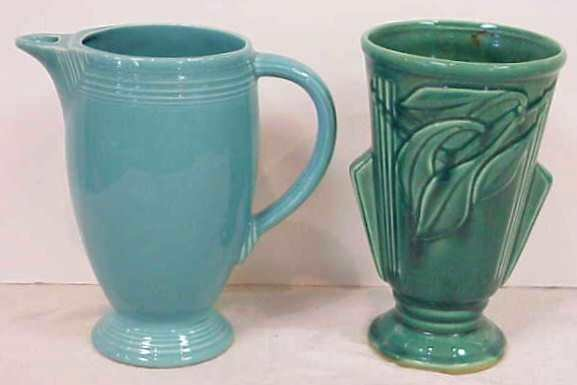 """1004: FIESTA TURQUOISE PITCHER 8"""" & GREEN POTTERY VASE"""