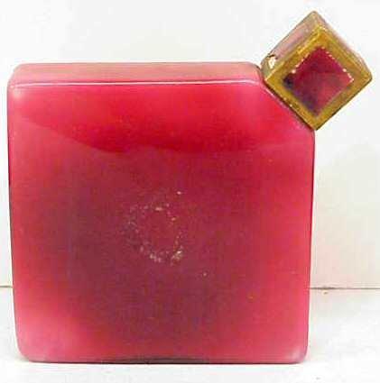 1013: GLASS DIAMOND SHAPE PERFUME BOTTLE, GILT METAL &