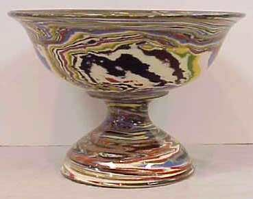 """1014: DESERT SANDS POTTERY 7"""" MARBLEIZED COMPOTE, MID 2"""