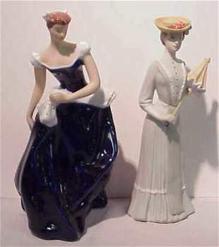 """2 ROYAL DUX LADY FIGURINES, APPROX 9 1/2""""H EACH"""