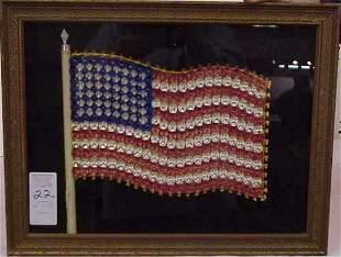 FOLK ART AMERICAN FLAG, TEXTILE TUFTED THREAD, 12