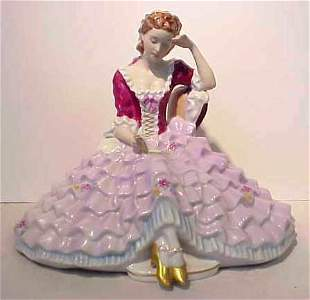 """ROYAL DUX FIGURE OF A LADY READING, MID 20THC 10"""""""