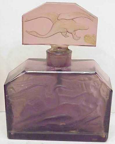 1024: ART NOUVEAU AMETHYST GLASS PERFUME BOTTLE, DEPICT