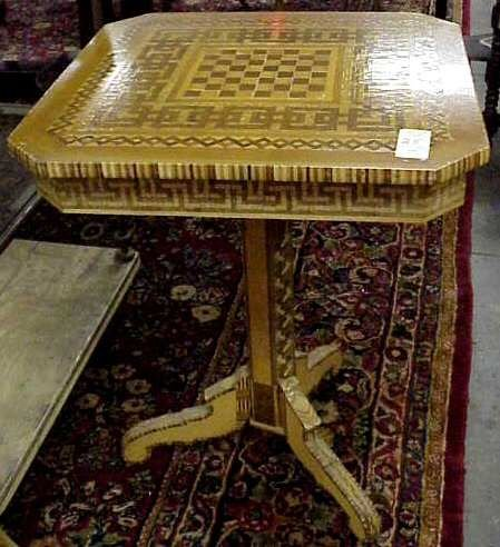 """1025: MARQUETRY END TABLE 24"""" W X 24"""" D X 30"""" H, EARLY"""