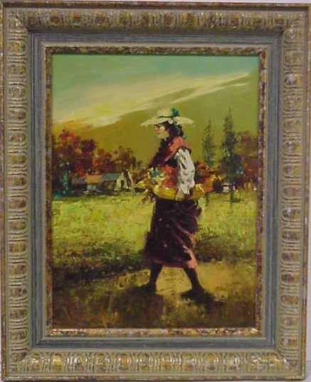 1027: JOHN ADAMOS (20THC)OIL ON CANVAS OF PEASANT GIRL