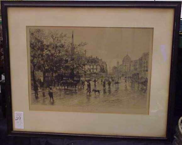 "1029: FRENCH CITY SCENE, ETCHING, ""ENTREE DE LA CITE"","