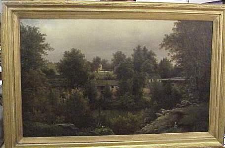 1138: HENRY LEE TATNALL(-1885)LANDSCAPE,OIL ON CANVAS