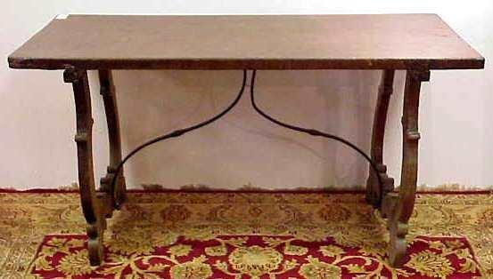 1170: 18/19THC WALNUT? TRESTLE TABLE, IRON STRETCHERS (