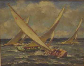 2454: GERALD S. FOSTER (1900-?)OIL ON BOARD,SAILBOATS