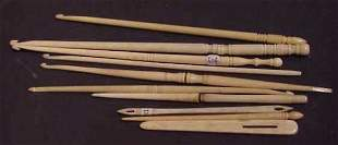 10 ASSORTED 19TH C BONE SEWING IMPLEMENTS