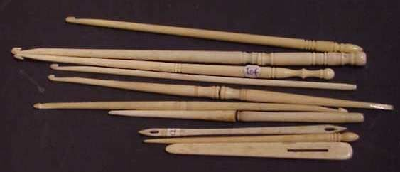 2313: 10 ASSORTED 19TH C BONE SEWING IMPLEMENTS