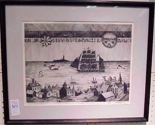 2317: NEW ENGLAND VILLAGE ETCHING,JOHN LOCHTEFELD