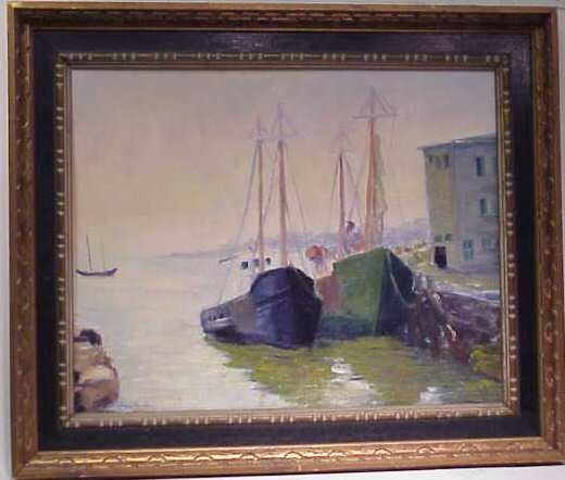 2326A: HARBOR SCENE WITH TWO SHIPS, OIL ON BOARD,  SIGN