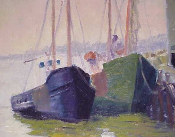 2326A: HARBOR SCENE WITH TWO SHIPS, OIL ON BOARD,  SIGN - 2