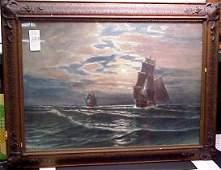 2383 OTIS WEBER 19THC SAILING SHIPS WATERCOLOR