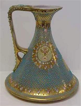 EARLY JEWELLED PORCELAIN EWER, MISSING SOME TURQU