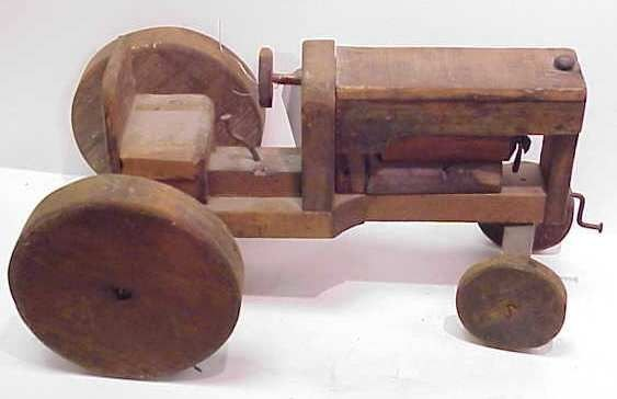 "3020A: FOLK ART WOOD TOY TRACTOR, 15"", EARLY 20THC"
