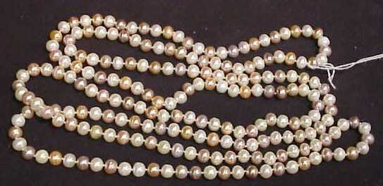 "3021: MULTICOLORED CULTURED PEARL NECKLACE, 70"" LONG, A"