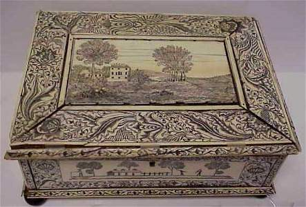 3028: EARLY BONE ENGRAVED BOX, LANDSCAPE SCENES WITH FI