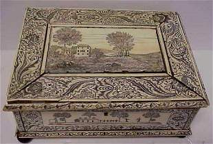 EARLY BONE ENGRAVED BOX, LANDSCAPE SCENES WITH FI
