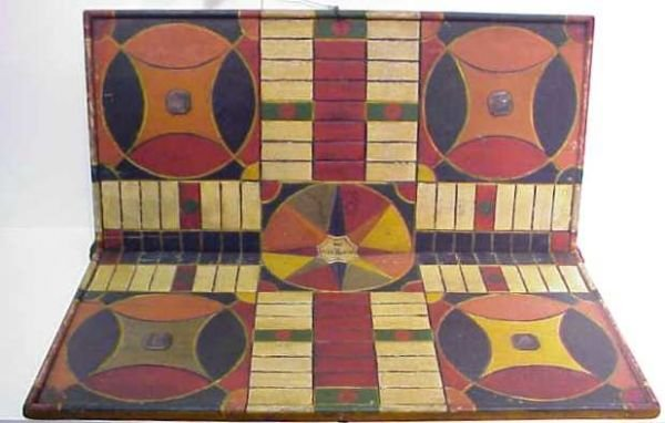 3115A: EARLY FOLK ART PAINTED WOOD PARCHEESI GAME BOARD